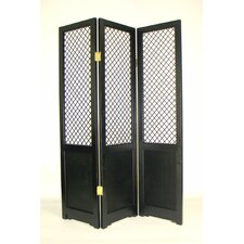 Black Three Panel Wooden Room Divider
