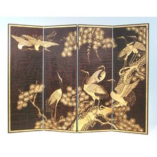 "36"" x 48"" Sepia Crane Scene 4 Panel Room Divider"