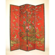"72"" x 64"" Asian Flower 4 Panel Room Divider"
