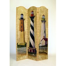 "72"" x 48"" Cape Cod Lighthouse 3 Panel Room Divider"