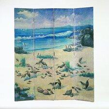 "64"" x 72"" Birds on Sandy Beach 4 Panel Room Divider"
