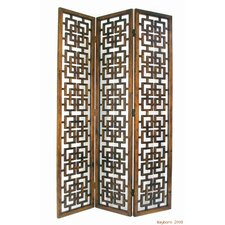 "83"" x 54"" Interlocking Squares 3 Panel Room Divider"