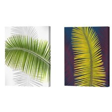 <strong>Menaul Fine Art</strong> Green and Yellow Palm Frond Limited Edition Canvas - Scott J. Menaul (Set of 2)
