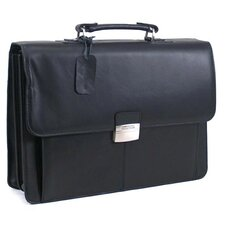 "Manhattan Leather Portfolio ""Flap-py Gilmore"" Briefcase in Black"