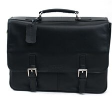 "Manhattan Leather Portfolio ""A Brief History"" Briefcase in Black"