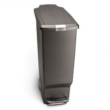 40 L / 10.6 Gal, Slim Plastic Step Trash Can