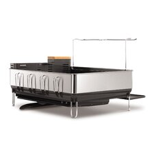 Steel Frame Dishrack with Wine Glass Holder, Stainless Steel