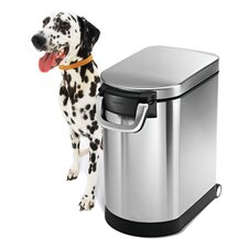 30 L, Large Pet Food Storage Can, Brushed Stainless Steel