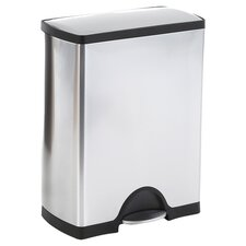 46 L / 12.5 Gal, Rectangular Step Trash Can Recycler, Stainless Steel