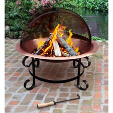 Copper Fire Pit & Guard in Black