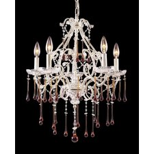 Opulence  Candle Chandelier in Antique White and Amber Crystal