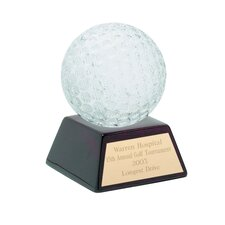Glass Golf Ball with Wood Base Award