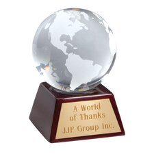 Clear Optical Glass Globe Award
