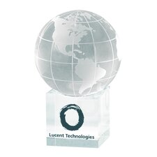 """Clear Cube"" Globe and Base Award"