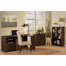 Buena Vista Corner Desk with 6-Cube Bookcase and Lateral File