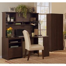 Buena Vista Corner Desk with Hutch and 2-Door Tall Storage Cabinet