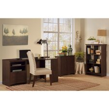 Buena Vista Corner Executive Desk with 6-Cube Bookcase and Low Storage Cabinet