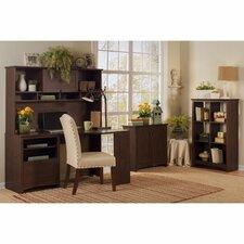 Buena Vista Corner Executive Desk with Hutch, 6-Cube Bookcase and Low Storage Cabinet
