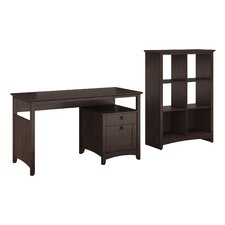 Buena Vista Single Pedestal Desk with 6-Cube Bookcase