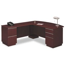 <strong>Bush Industries</strong> Milano 2 Right L-Desk with Full Pedestal