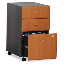 2 Box/1 File Drawer Mobile Vertical File, 28-1/4 High, Natural Cherry/Slate Gray