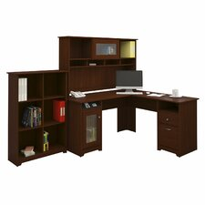 Cabot L Shaped Desk with Hutch and Bookcase