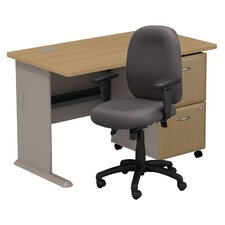 Series A Computer Desk with 2 Drawer File and Chair