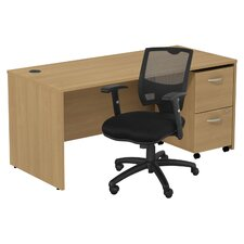 Series C Computer Desk with 2 Drawer File and Chair