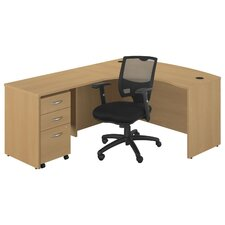 Series C Left Bow Front Desk with 3 Drawer File and Chair