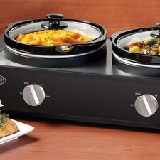 2.5 Quart Triple Slow Cooker Buffet in Stainless Steel and Black