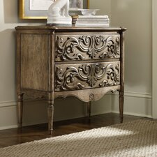 2 Drawer Carved Front Chest