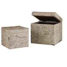 2 Piece Melange Joli Cube Storage Ottoman Set