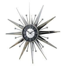 Starburst Wall Clock in Silver and Black