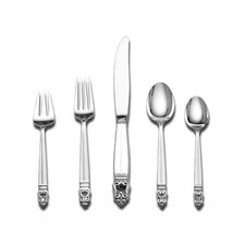 Royal Danish 5 Piece Dinner Flatware Set with Dessert Spoon