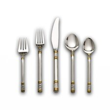 Sterling Silver Aegean Weave Gold Accent 46 Piece Flatware Set