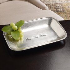 "Antique Buffet ""Bless Our Home"" Engraved Bread Tray"