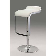 "21""-31"" Leatherette Swivel Barstool in White"