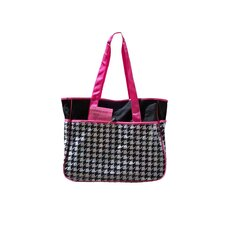 Houndstooth Square Tote in Black and White
