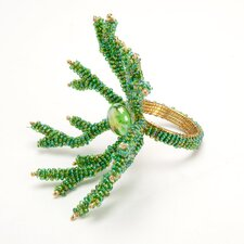 <strong>Debage Inc.</strong> Coral Napkin Rings in Green (Set of 4)