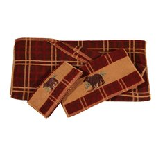 Embroidered Bear Plaid 3 Piece Towel Set