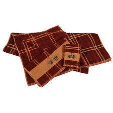 Pine Cone Plaid 3 Piece Towel Set