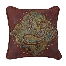 San Angelo Paisley Print Pillow with Faux Leather Corners