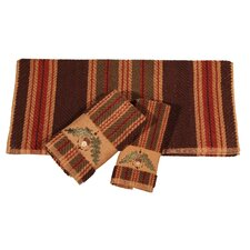 Embroidered Acorn Stripe 3 Piece Towel Set
