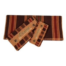 Embroidered Lodge Stripe 3 Piece Towel Set