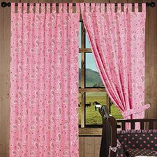 Pink Paisley Tab Top Curtains Panel (Set of 2)