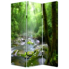 "72"" x 48"" Meadows and Streams Screen 3 Panel Room Divider"