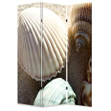 "72"" x 48"" Sea Shell Screen 3 Panel Room Divider"
