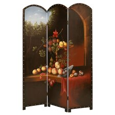 "74"" x 52"" Painted Fruit Screen 3 Panel Room Divider"