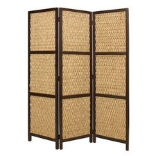 "73"" x 60"" Braided Rope Screen 3 Panel Room Divider"