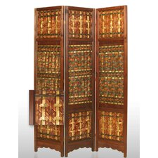 "71"" x 55"" Palm Decorative 3 Panel Room Divider"